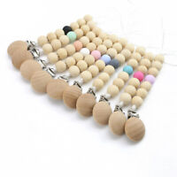 Baby Soother Chain Holder Natural Wood Silicone Beads Beech Dummy Pacifier Clips