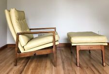 Mid Century MCM Lounge Chair Milo Baughman James Recliner Ottoman Walnut Yellow