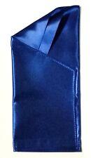 POCKET SQUARE Royal Blue Satin Dbl Fold Angled Point  - Pre-folded & Sewn