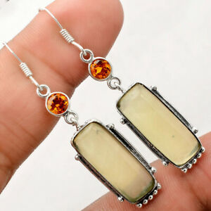 Serpentine Padparadscha Sapphire 925 Sterling Silver Earrings Jewelry E532