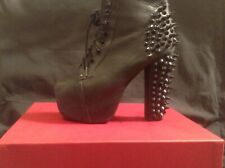 Punk rock / Goth / studded spiked shoes real leather high heal lace up, ladies U