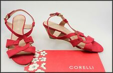 CORELLI WOMEN'S RED WEDGED HEEL OPEN TOE SANDALS SHOES SIZE 10 NEW