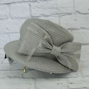 August Hat Company Luxurious Cloche Silver/Grey w/ Ribbon & Feathers