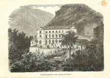 ETABLISSEMENT DES EAUX-CHAUDES / GRAVURE ENGRAVING 1878