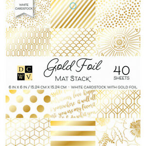 """Diecuts With A View DCWV Cardstock Stack 6""""X6"""" 40/Pkg-White W/Gold Foil"""