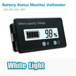 12/24/48V Battery Status Charge LCD Digital Indicator Monitor Meter Gauge Blue