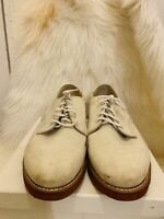 Dexter Mens shoe's Size 10 WW Off White Beige Leather MADE IN USA PREOWNED