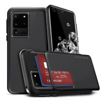 For Galaxy S20, S21 Series Case Wallet Slide Two Card Holder Cover ShockProof