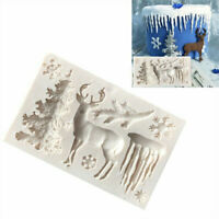 3D Silicone Christmas Tree Deer Fondant Mould Cake  Decorating Chocolate Mold