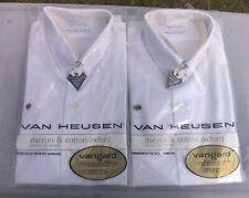 Lot Of 2 Vintage Van Heusen Vangard White Dress Shirt Size 15 - 33