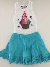 Custom Boutique 4th Birthday Rainbow Cupcake Bling Tank Top and Blue Skort Set