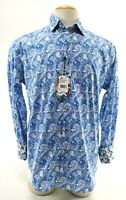 Robert Graham Kammerer NWT $198 Men's Dress Shirt Paisley Wild Size Medium Blue