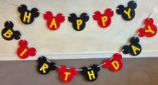 MICKEY MOUSE BIRTHDAY BANNER (HAPPY BIRTHDAY) BLACK RED YELLOW