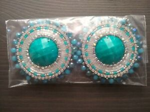 Teal Blue & Turquoise Native American Inspired Beaded Earrings HANDMADE
