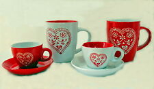 Tassen Herz Set 4-er  6-teilig Espresso Kaffee Tee Becher Mokka Lanhaus rot weiß
