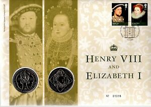 GB 2009 COVER HENRY VIII AND ELIZABETH 1 WITH 2X £5 COINS
