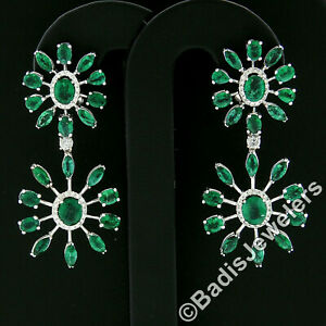 18k White Gold 8.28ctw Emerald & Diamond Spray Snowflake Drop Dangle Earrings