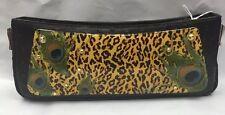 Debbie Brooks Black Leather Interchangeable Strap Handbag Leopard Peacock New