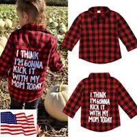 Toddler Kids Baby Boy Gril Cotton Long Sleeve Plaid Shirt T-shirt Top Clothes