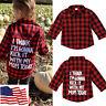 Toddler Kids Baby Boy Gril Cotton Long Sleeve Plaid Shirt T-shirt Top Clothes