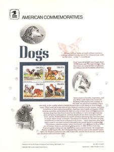 #228 20c Dogs Block #2098-2101 USPS Commemorative Stamp Panel