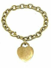 "14k Yellow Gold Italian Heart Charm Bracelet 7"""