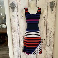 Calvin Klein Size 8 Womans Black Blue Pink White Orange Sleeveless Striped Dress