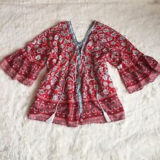 New ANTHROPOLOGIE Festival Bohemian Red Tassel Tie Peasant Blouse Top - Medium