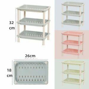 3 Tier Plastic Shelf Organiser Kitchen Shelving Rack Under Sink Storage Unit