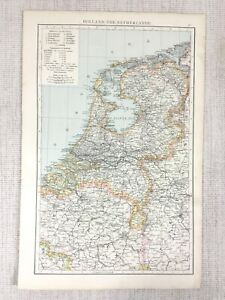 1898 Antique Map of Holland The Netherlands Dutch Victorian Old 19th Century