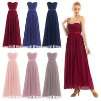 Women Chiffon Pleated High-Waisted Bridesmaid Long Dress Party Evening Prom Gown