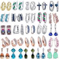 925 Silver Filled Sapphire Emerald Gemstone Stud Earrings Wedding Jewelry Hot