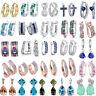 925 Silver Filled Fire Opal Sapphire Emerald Ruby Ear Stud Earrings Jewelry