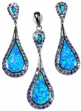 "Blue Fire Opal Tanzanite Sterling Silver 20"" Necklace Earrings Set Bridal NEW"