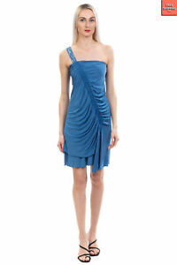 JEI O' Sheath Dress Size XS Rhinestones Ruched Trim Gathered Made in Italy