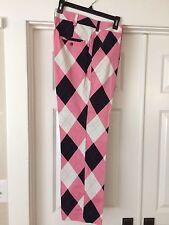 Men's Loudmouth Pink Black Argyle Golf Pants 34Wx30.5L Loud Mouth