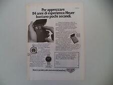 advertising Pubblicità 1977 HEUER CRONOGRAFO CARRERA/MICROSPLIT 430