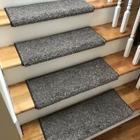 """NEW! 27"""" Wide Driftwood Greys/Brown True Bullnose Carpet Stair Tread - Sold Each"""