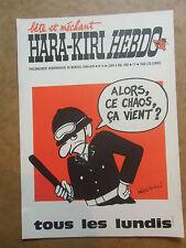 AFFICHE  journal  HARA KIRI  HEBDO  N°14  du 5 mai  1969 dessin de Wolinski