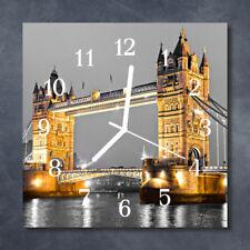 Glass Wall Clock Kitchen Clocks 30x30 cm silent Tower Bridge Yellow
