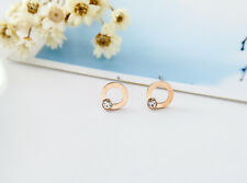 NEW Lady 18K Rose Gold Plated 8MM Cute Crystal Round Hoop Stud Earrings Jewelry