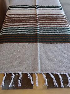 Pueblo Serape Blanket Grey-ONWPB Southwest Southwestern Mexican Afghan
