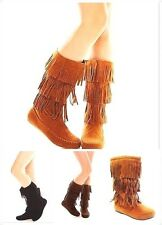 New Women's 3 layer Mid-Calf Faux Suede Fringe Tassle Flat Moccasin Dress Boots