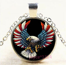 Bald eagle and Flag Cabochon Glass Tibetan silver Pendant Necklace #7785