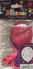 """1st Communion Pink 10"""" Balloons Decoration Party Celebrations Pack Of 8 Balloons"""