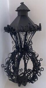 "18"" Lantern Lamp Spanish Revival Iron Hanging Gothic Patio Light Project Salvage"