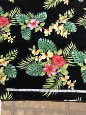 HAWAIIAN PRINT LUAU FLORAL 🌺 100% COTTON FABRIC Fat Quarter Black Background