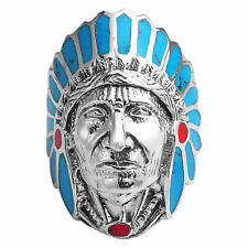 Style .925 Silver Ring-13 Blue-Red Stone Accented Native American