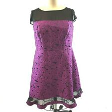 ADRIANNA PAPPEL Dress Purple Plum Black Floral Applique 18W Cocktail Fit Flare