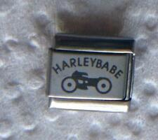 """""""HARLEY BABE""""-ON SILVER ITALIAN 9MM CHARM-MOTORCYCLE, CHOPPER, ON THE ROAD"""